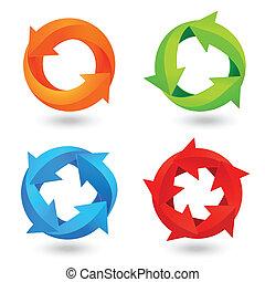 円, セット, 矢, アイコン