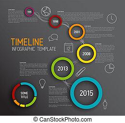 円, タイムライン, 暗い, infographic, テンプレート, レポート