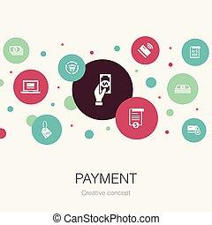 円, テンプレート, 最新流行である, 支払い, ∥含んでいる∥, インボイス, icons., 要素, お金, 手形, そのような物, 単純である