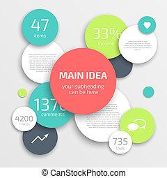 円, デザイン, template., ビジネス, infographics