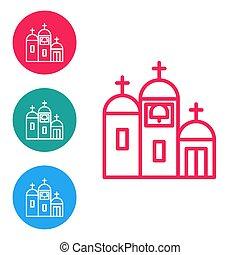 円, バックグラウンド。, 宗教, church., 教会, ベクトル, アイコン, 線, buttons., 白, 建物, 隔離された, 赤, セット, キリスト教徒, イラスト, アイコン