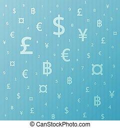円, バーツ, ユーロ, シンボル, 通貨, ドル, 背景, ポンド