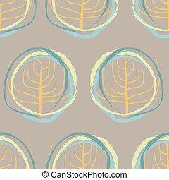 円, パターン, きずもの, レトロ, 背景, 形。, 乾きなさい, squiggle, 木, seamless., ベクトル, 型, シルエット