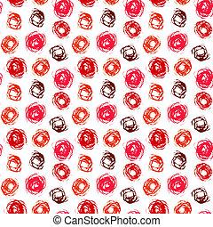 円, パターン, 珊瑚, ブラシをかけられる, 赤
