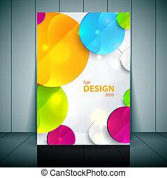 円, ベクトル, カラフルである, ビジネス, -, フライヤ, デザイン, テンプレート, 3d