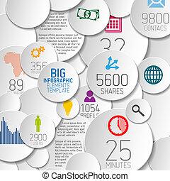 円, ベクトル, 背景, 抽象的, イラスト, infographic, /, テンプレート