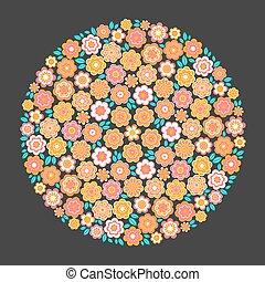 円, ベクトル, 花