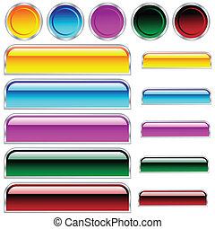 円, ボタン, 円形にされる, 分類される, 色, グロッシー, scaleable, 長方形