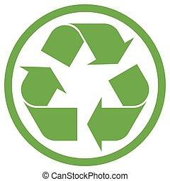 円, リサイクル, 緑, 印