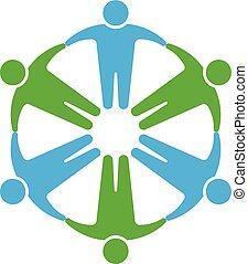 円, 人々, logo.holding, 手