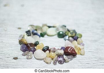 円, 作られた, フレーム, 宝石用原石