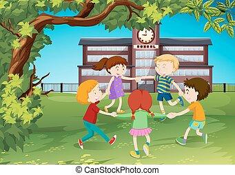 円, 公園, のまわり, 子供