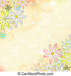 円, 古い, 春, 上に, ペーパー, ベージュのバックグラウンド, 花
