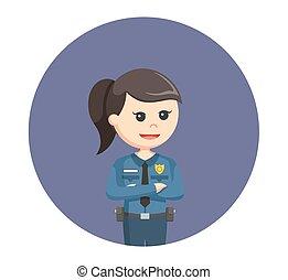 円, 女, 警察, 背景