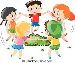 円, 子供たちが手を持つ