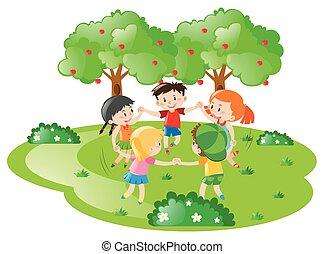 円, 子供, 手を持つ