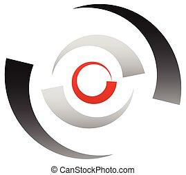 円, 小さな点, ターゲット, 印。, シンボル。, 分けられた, 赤, 中心点, クロスヘア, 同心である,...