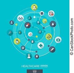 円, 平ら, 医学, アイコン, concept., 抽象的, 健康, 心配, 接続, デザイン, 背景, ヘルスケア, 薬, concepts., インテグレイテド