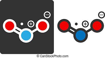 円, 平ら, 示されている, 汚染物質, (no2, アイコン, blue)., nox), -,...
