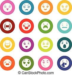 円, 微笑, セット, カラフルである, アイコン, ベクトル