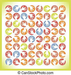 円, 手, カラフルである, design.
