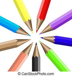 円, 整理, 色, 鉛筆
