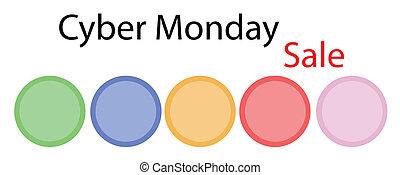 円, 旗, cyber, 月曜日, ラベル