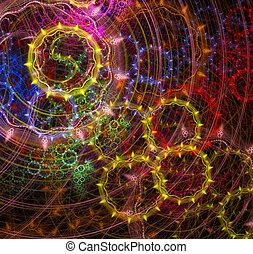円, 明るい, フラクタル, 背景, イラスト