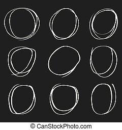 円, 灰色, セット, 手, 背景, 引かれる