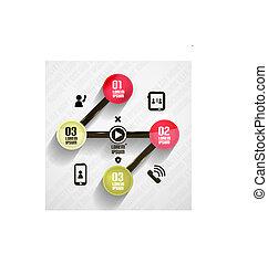 円, 現代, テンプレート, infographic