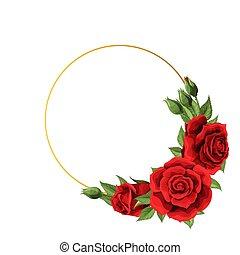 円, 空, 結婚式, フレーム, 赤いバラ, 招待, スペース, デリケートである