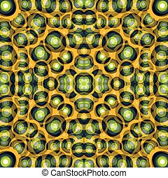 円, 美しい, 抽象的, イラスト, ベクトル, 黒い背景, オレンジ, 緑