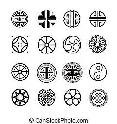円, 装飾, アイコン, 中国語, 日本語, 韓国語, ベクトル, セット