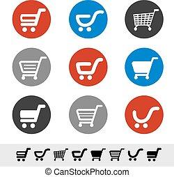 円, 買い物, 単純である, ボタン, -, ワゴン, ベクトル, 項目, カート, 色