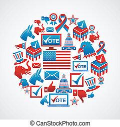 円, 選挙, 私達, アイコン