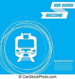 円, 青, のまわり, 列車, 抽象的, text., ベクトル, 場所, 背景, あなたの, アイコン