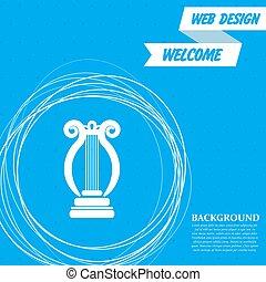 円, 青, のまわり, 抽象的, text., ベクトル, 場所, 背景, アイコン, あなたの, ハープ