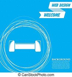 円, 青, のまわり, 抽象的, text., ベクトル, 場所, 背景, dumbbell, あなたの, アイコン