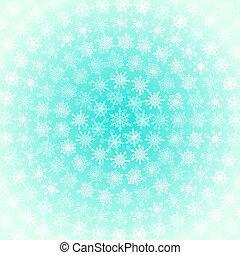 円, 青, 取り決められた, 雪片, ライト, 背景, 緑がかった, 白, 同心である