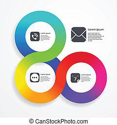 円, infographic, 網, テンプレート, の, 色, ストライプ