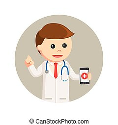 円, smartphone, 背景, 保有物, 医者