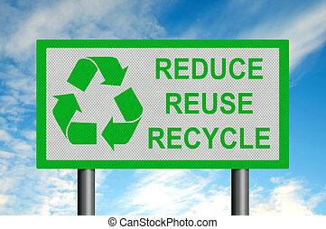 再使用, に対して, 青, リサイクルしなさい, 空, 減らしなさい