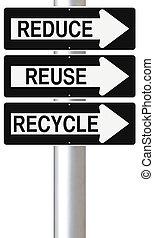 再使用, リサイクルしなさい, 減らしなさい