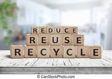 再使用, 木製である, 減らしなさい, 机, リサイクルしなさい, 歌いなさい