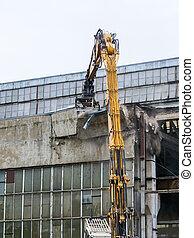 再建, 壁, 産業, 工場, 分解, ねじれて切れる, 押しつぶすこと