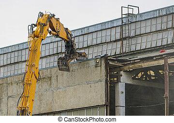 再建, 工場, ねじれて切れる, 産業, 押しつぶすこと, 壁, 分解
