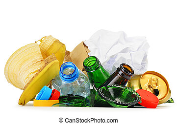 再循环, 垃圾, 包括, 在中, 玻璃, 塑料, 金属, 同时,, 纸