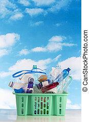 再循環, 塑料籃, 充滿, 由于, 容器, 被隔离