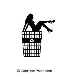再循環, 女孩, 垃圾桶, 插圖
