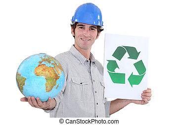 再循環, 建筑材料, 保護, the, 行星